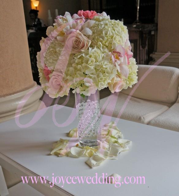 Elegant half ball centerpiece hydrangeas mums roses