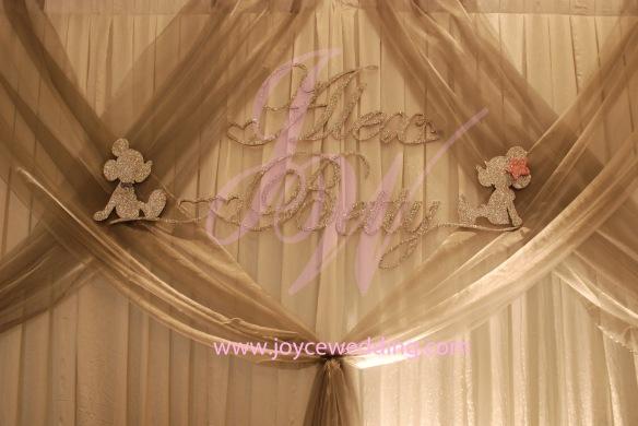 #Elegant #sparkling #designed #silver #backdrop #names #Mickey #Minnie #cute
