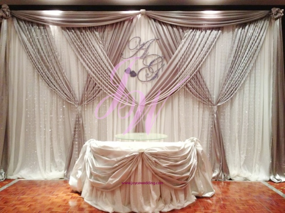 #Elegant #silver And #white #satin #backdrop At